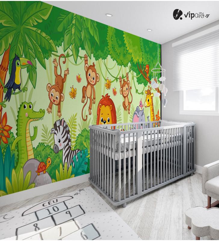 Αυτοκόλλητη Ταπετσαρία Τοίχου για Παιδικό Δωμάτιο με ζώα Δάσος