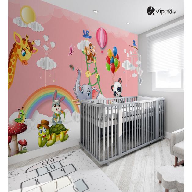 Αυτοκόλλητη Ταπετσαρία Τοίχου για Παιδικό Δωμάτιο για κορίτσι Ροζ ζώα Ουράνιο Τόξο