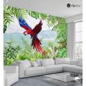 Αυτοκόλλητη Ταπετσαρία Τοίχου Πράσινα Τροπικά Φύλλα Παπαγάλος