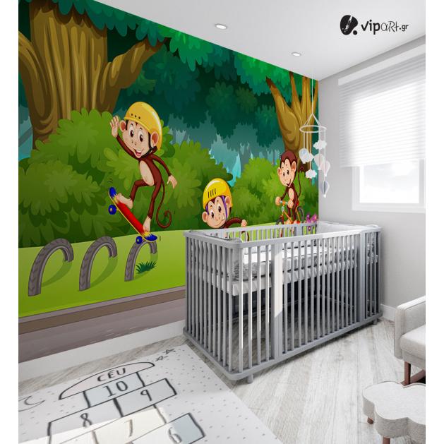 Αυτοκόλλητη Ταπετσαρία Τοίχου για Παιδικό Δωμάτιο με μαϊμουδάκια
