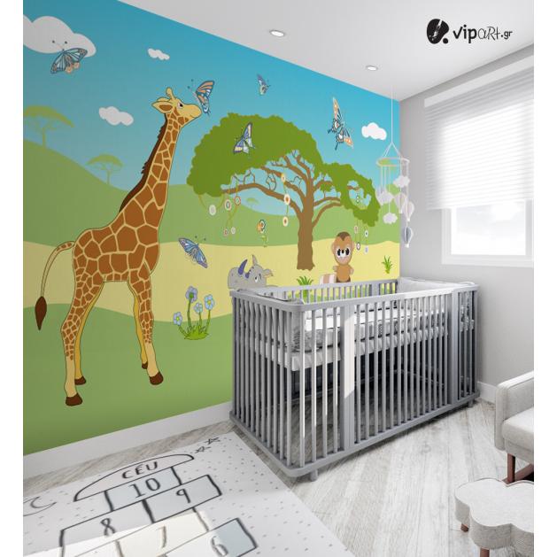 Αυτοκόλλητη Ταπετσαρία Τοίχου για Παιδικό Δωμάτιο με Διάφορα Ζώα στο Δάσος