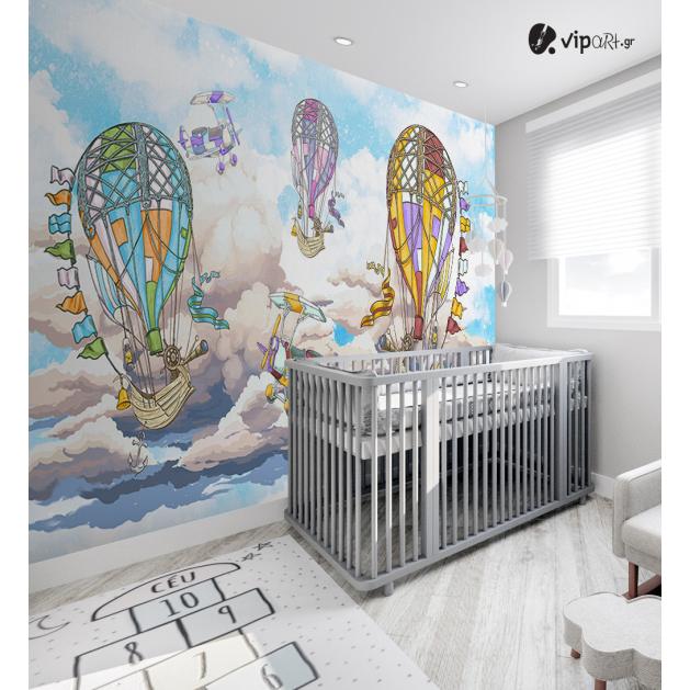 Αυτοκόλλητη Ταπετσαρία Τοίχου για Παιδικό Δωμάτιο με Πολύχρωμα Αερόστατα - Αεροπλάνα στον Ουρανό