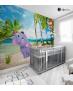 Αυτοκόλλητη Ταπετσαρία Τοίχου για Παιδικό Δωμάτιο με Ελεφαντάκι - Μαϊμουδάκι στην Παραλία με φοίνικες