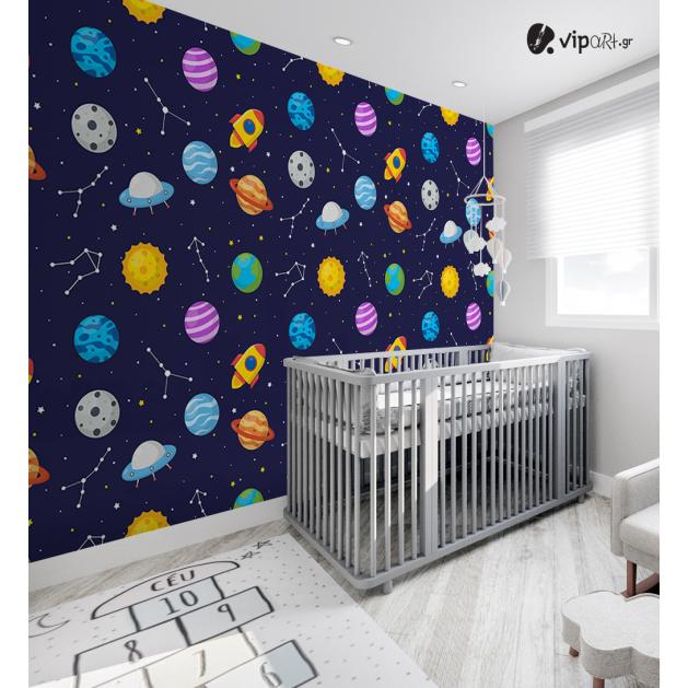 Αυτοκόλλητη Ταπετσαρία Τοίχου για Παιδικό Δωμάτιο με Πλανήτες Διάστημα Αστέρια