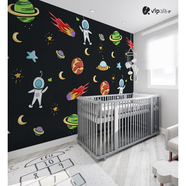 Αυτοκόλλητη Ταπετσαρία Τοίχου για Παιδικό Δωμάτιο με Πλανήτες Διάστημα Αστέρια Κομήτες