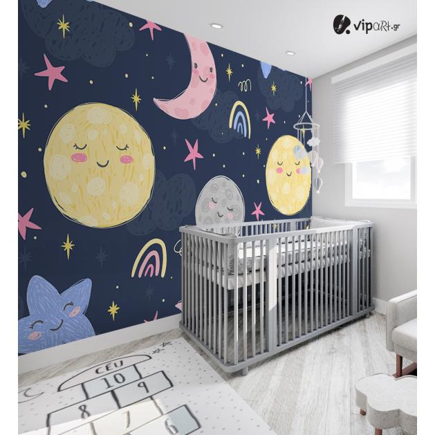 Αυτοκόλλητη Ταπετσαρία Τοίχου για Παιδικό Δωμάτιο με Διάστημα Αστέρια Φεγγάρι