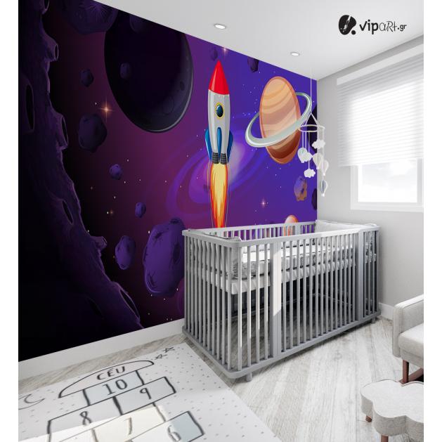 Αυτοκόλλητη Ταπετσαρία Τοίχου για Παιδικό Δωμάτιο με Διάστημα Πλανήτες Διαστημόπλοιο