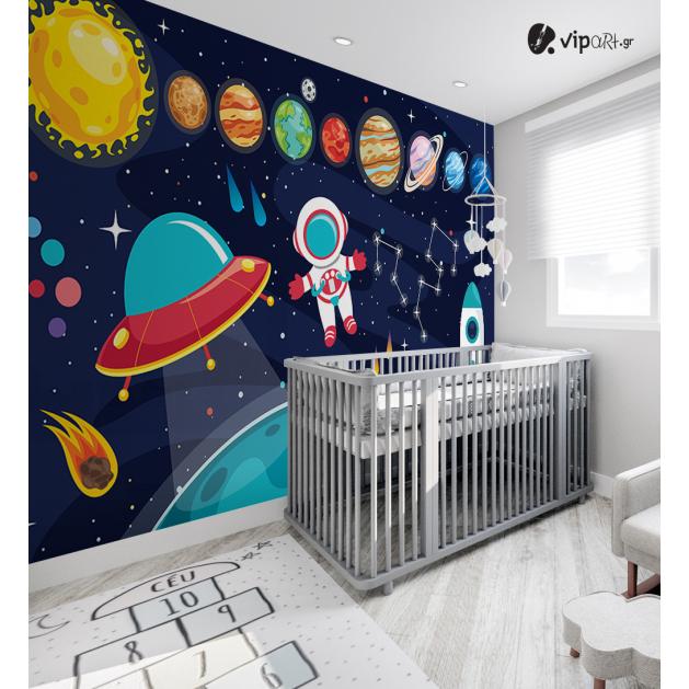 Αυτοκόλλητη Ταπετσαρία Τοίχου για Παιδικό Δωμάτιο με Διάστημα Πλανήτες Διαστημόπλοιο Ήλιος Αστέρια