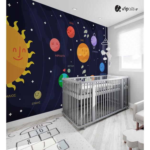 Αυτοκόλλητη Ταπετσαρία Τοίχου για Παιδικό Δωμάτιο με Πλανήτες Ονόματα