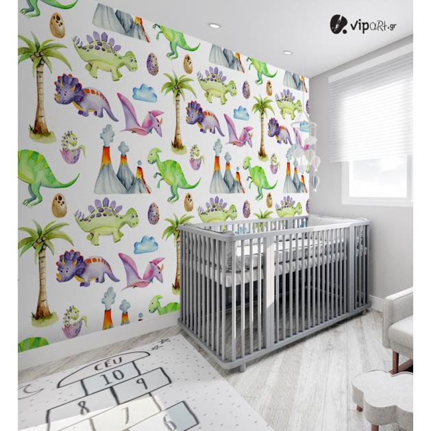 Αυτοκόλλητη Ταπετσαρία Τοίχου για Παιδικό Δωμάτιο με Πολύχρωμους Δεινόσαυρους