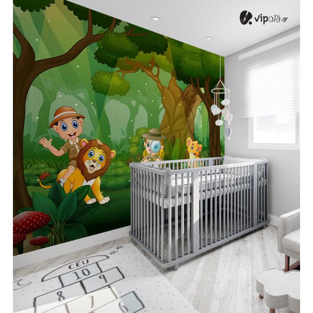 Αυτοκόλλητη Ταπετσαρία Τοίχου για Παιδικό Δωμάτιο με Αγόρια Ερευνητές στο Δάσος με Λιοντάρια