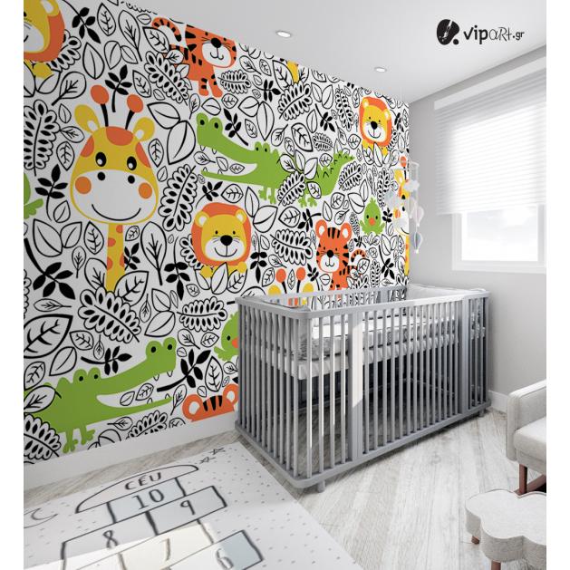 Αυτοκόλλητη Ταπετσαρία Τοίχου για Παιδικό Δωμάτιο με Ζώα Cartoon