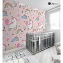 Αυτοκόλλητη Ταπετσαρία Τοίχου για Παιδικό Δωμάτιο Ροζ με μονόκερους