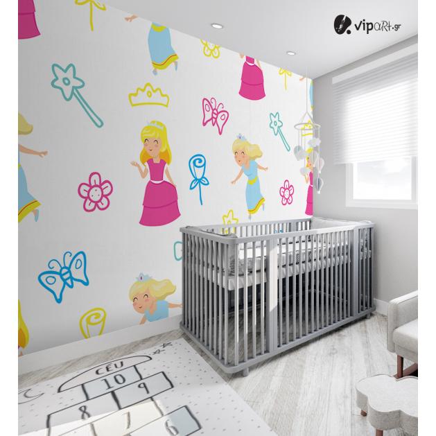 Αυτοκόλλητη Ταπετσαρία Τοίχου για Παιδικό Δωμάτιο με Ροζ Γλυκιά Πριγκίπισσα