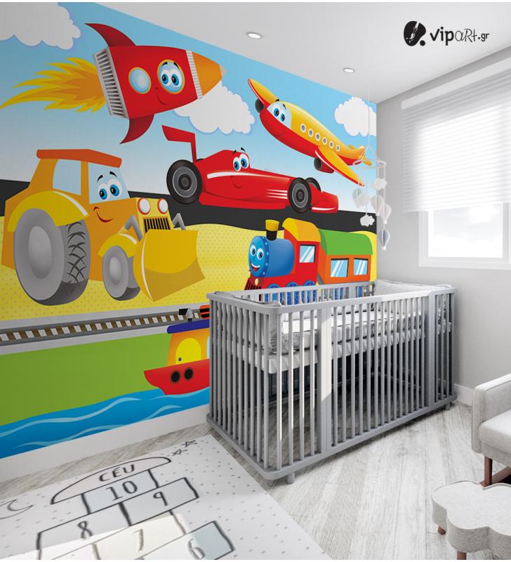 Αυτοκόλλητη Ταπετσαρία Τοίχου για Παιδικό Δωμάτιο με  Αεροπλάνο, μπουλντόζα, τρένο, πύραυλος, πλοίο
