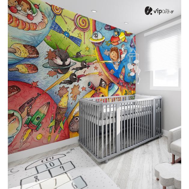 Αυτοκόλλητη Ταπετσαρία Τοίχου για Παιδικό Δωμάτιο με Πλανήτες Παιδιά Διαστημόπλοιο Art