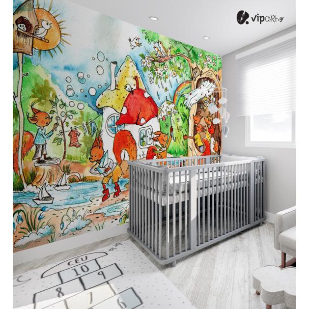 Αυτοκόλλητη Ταπετσαρία Τοίχου για Παιδικό Δωμάτιο με  Άνοιξη παραμύθι με αλεπούδες