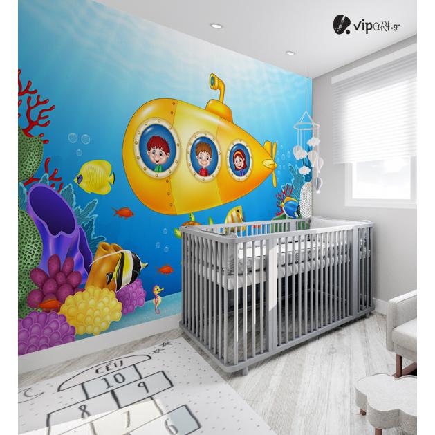 Αυτοκόλλητη Ταπετσαρία Τοίχου για Παιδικό Δωμάτιο με Βυθός Ψάρια Υποβρύχιο Παιδιά
