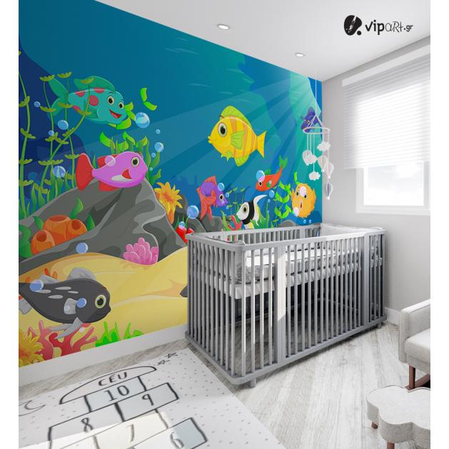 Αυτοκόλλητη Ταπετσαρία Τοίχου για Παιδικό Δωμάτιο με Ψάρια σε Βυθό