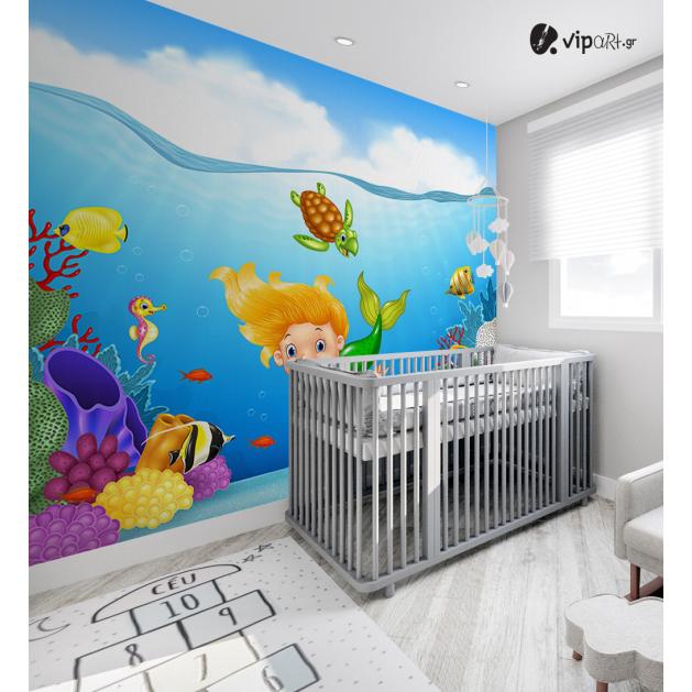 Αυτοκόλλητη Ταπετσαρία Τοίχου για Παιδικό Δωμάτιο με Γοργόνα Βυθός Χελώνα