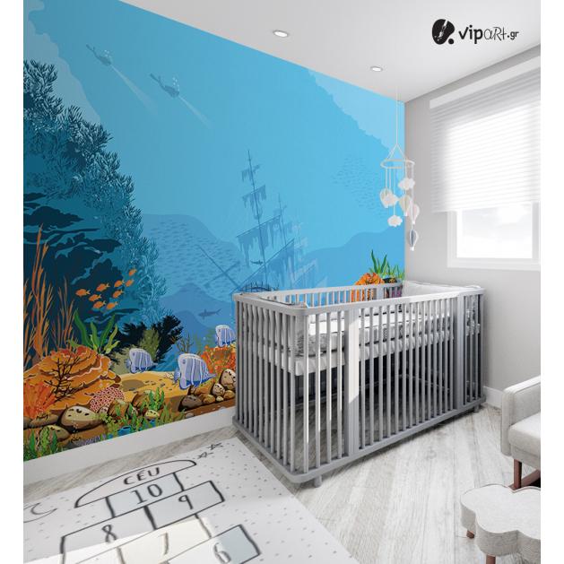 Αυτοκόλλητη Ταπετσαρία Τοίχου για Παιδικό Δωμάτιο με Βυθός ναυάγιο
