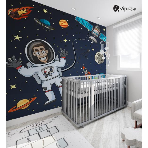 Αυτοκόλλητη Ταπετσαρία Τοίχου για Παιδικό Δωμάτιο με Αστροναύτη Πλανήτες