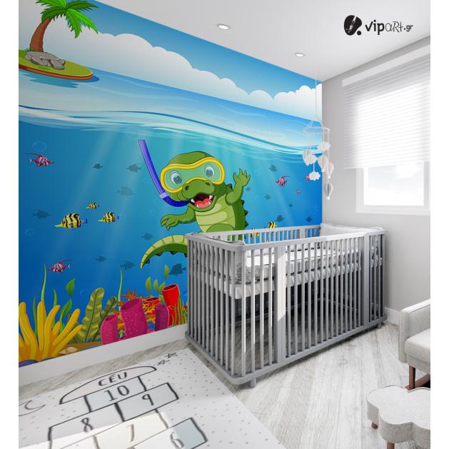 Αυτοκόλλητη Ταπετσαρία Τοίχου για Παιδικό Δωμάτιο με Βυθός Κροκόδειλος