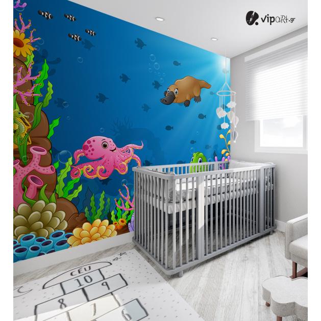 Αυτοκόλλητη Ταπετσαρία Τοίχου για Παιδικό Δωμάτιο με Βυθός χταπόδι Χελωνάκι Φώκια