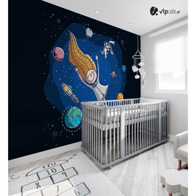 Αυτοκόλλητη Ταπετσαρία Τοίχου για Παιδικό Δωμάτιο με κορίτσι που ονειρεύται πλανήτες