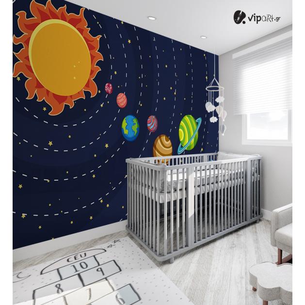 Αυτοκόλλητη Ταπετσαρία Τοίχου για Παιδικό Δωμάτιο με Ηλιακό Σύστημα