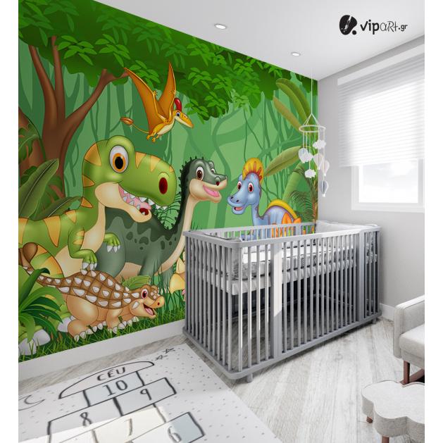 Αυτοκόλλητη Ταπετσαρία Τοίχου για Παιδικό Δωμάτιο με Δεινόσαυρους