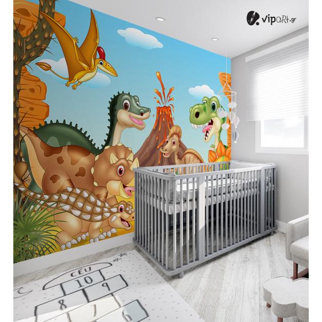 Αυτοκόλλητη Ταπετσαρία Τοίχου για Παιδικό Δωμάτιο με Δεινόσαυρους Ηφαίστειο Εκρηξη