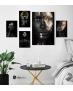 Σύνθεση με πίνακες Καμβάδες με Πρόσωπα Ασπρόμαυρα - Χρυσά - 4 Τεμάχια 30x 20  & 1 Tεμάχιο 60 X 40