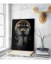 Πίνακας σε Καμβά woman dark skin gold makeup art