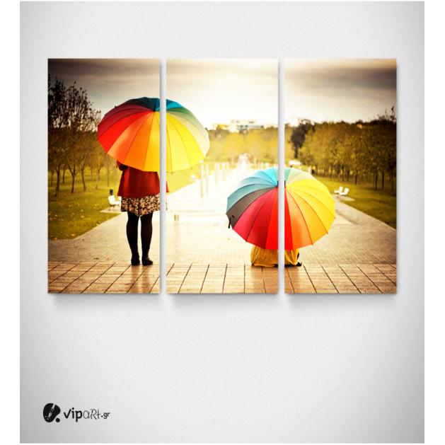 Πίνακας Καμβάς Τρίπτυχος Πολύχρωμες Ομπρέλες