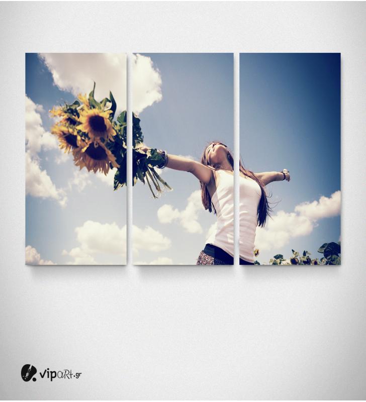 Πίνακας Καμβάς Τρίπτυχος Κορίτσι Με Ηλιοτρόπια