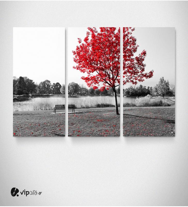 Καμβάς Τρίπτυχος Πίνακας Ρόζ Δέντρο κούνια
