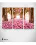 Καμβάς Τρίπτυχος Πίνακας Ροζ Δάσος Δέντρα Λουλούδια φύλλα