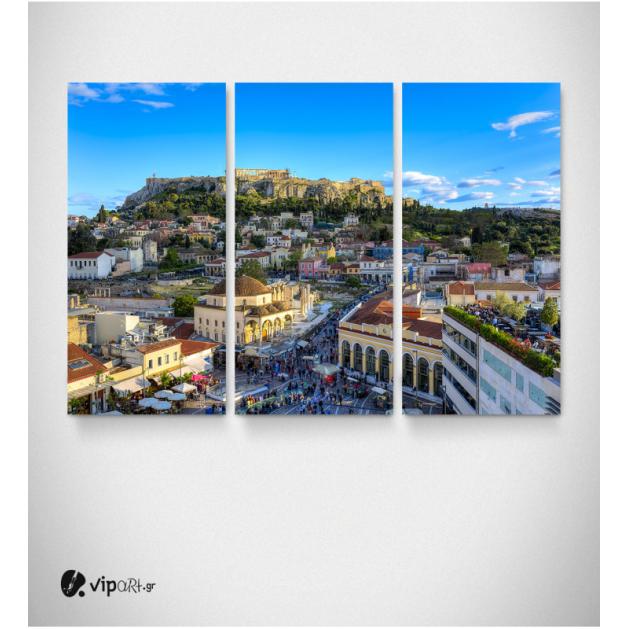 Καμβάς Τρίπτυχος Πίνακας Αθήνα Μοναστηράκι Πλάκα Ακρόπολη