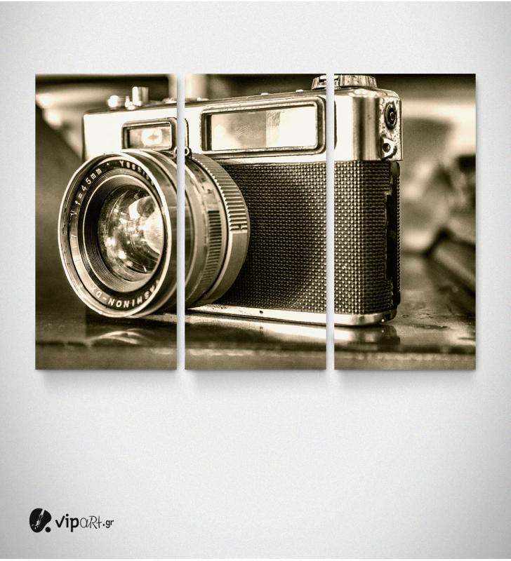 Καμβάς Τρίπτυχος Πίνακας Vintage Φωτογραφική Μηχανή