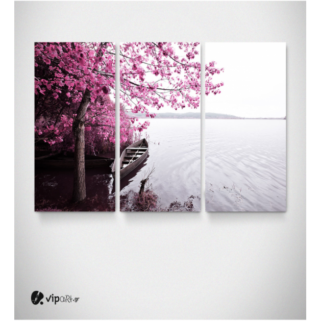 Καμβάς Τρίπτυχος Πίνακας Ροζ Δέντρο Με Βάρκα