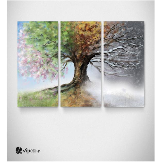 Καμβάς Τρίπτυχος Πίνακας Δένδρο τέσσερις εποχές