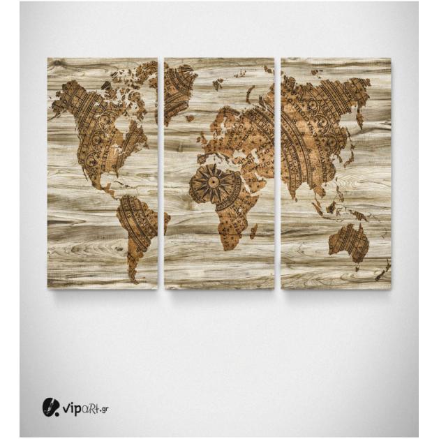Καμβάς Τρίπτυχος Πίνακας Παγκόσμιος Χάρτης - World Map Gold Ξύλο Vintage