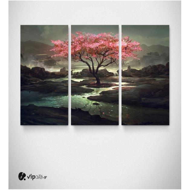 Καμβάς Τρίπτυχος Πίνακας Ζωγραφικής Cherry Blossom Tree