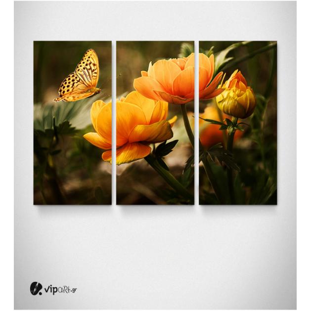 Καμβάς Τρίπτυχος Πίνακας κίτρινα Λουλούδια Με Πεταλούδα