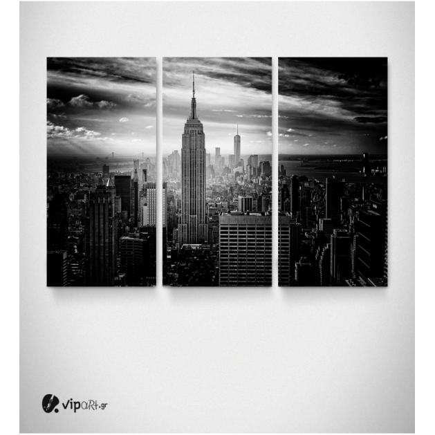 Καμβάς Τρίπτυχος Πίνακας Ασπρόμαυρα Κτίρια Ουρανοξύστες