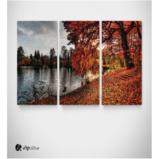 Καμβάς Τρίπτυχος Πίνακας Φθινοπωρινό τοπίο με φύλλα και λίμνη