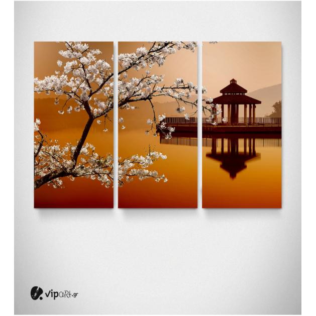 Καμβάς Τρίπτυχος Πίνακας Κινέζικο Ηλιοβασίλεμα Αμυγδαλιά