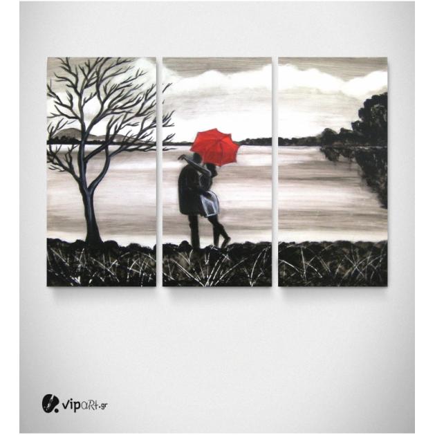 Καμβάς Τρίπτυχος Πίνακας Ζωγραφική Ζευγάρι Δέντρο Κόκκινη Ομπρέλα