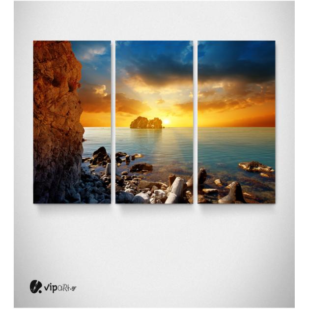 Καμβάς Τρίπτυχος Πίνακας Ηλιοβασίλεμα Βραχονυσίδα Βράχια Θάλασσα